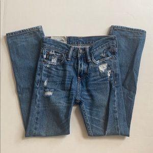 A&F Abercrombie Kids Distressed Skinny Blue Jeans
